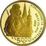Slovakia 5000 Korun 400th Anniversary Coronation of King Matthias II 2008 Proof KM# 89 SLOVENSKÁ - REPUBLIKA coin obverse
