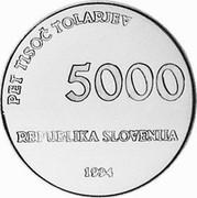Slovenia 5000 Tolarjev 1000th Anniversary Glagolitic Alphabet 1994 Proof KM# 20 PET TISOČ TOLARJEV 5000 REPUBLIKA SLOVENJA 1994 coin obverse