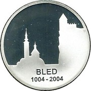 Slovenia 5000 Tolarjev 1000th Anniversary of Town of Bled mention 2004 Proof KM# 60 BLED 1004 - 2004 coin reverse