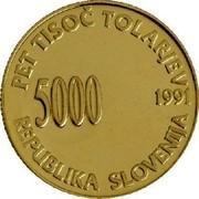 Slovenia 5000 Tolarjev 1st Anniversary of Independence (Bird's beak at center of spiral) 1991 Proof KM# 2 PET TISOČ TOLARJEV 5000 1991 REPUBLIKA SLOVENIJA coin obverse