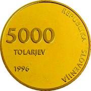 Slovenia 5000 Tolarjev 5th Anniversary Of Independence 1996 Proof KM# 35 REPUBLIKA SLOVENIJA 5000 TOLARJEV 1996 coin obverse