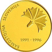 Slovenia 5000 Tolarjev 5th Anniversary Of Independence 1996 Proof KM# 35 SAMOSTOJNA SLOVENIJA 1991 1996 coin reverse