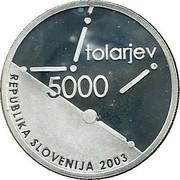 Slovenia 5000 Tolarjev 60th Anniversary of the Slovenian Assembly 2003 Proof KM# 55 TOLARJEV 5000 REPUBLIKA SLOVENIJA 2003 coin obverse