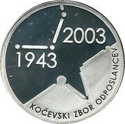 Slovenia 5000 Tolarjev 60th Anniversary of the Slovenian Assembly 2003 Proof KM# 55 2003 1943 KOČEVSKI ZBOR ODPOSLANCEV coin reverse