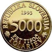 Slovenia 5000 Tolarjev Academia Operosorum Labacensium 1993 Proof KM# 14 REPUBLIKA SLOVENIJA 1993 5000 PET TISOČ TOLARJEV coin obverse