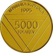 Slovenia 5000 Tolarjev Aljaz Tower 1995 Proof KM# 28 REPUBLIKA SLOVENIJA 1995 5000 TOLARJEV coin obverse