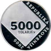 Slovenia 5000 Tolarjev Anton Askerc 2006 Proof KM# 93 REPUBLIKA SLOVENIJA 2006 5000 TOLARJEV coin obverse