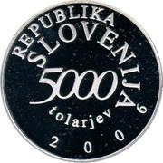 Slovenia 5000 Tolarjev Anton Tomaz Linhart 2006 Proof KM# 92 REPUBLIKA SLOVENIJA 5000 TOLARJEV 2006 coin obverse