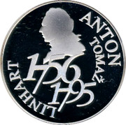 Slovenia 5000 Tolarjev Anton Tomaz Linhart 2006 Proof KM# 92 ANTON TOMAŽ LINHART 1756 1795 coin reverse