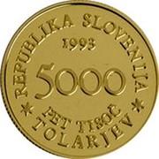 Slovenia 5000 Tolarjev Battle of Sisek 1993 Proof KM# 11 REPUBLIKA SLOVENIJA 1993 5000 PET TISOČ TOLARJEV coin obverse