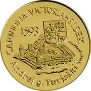 Slovenia 5000 Tolarjev Battle of Sisek 1993 Proof KM# 11 CARNIOLIÆ VICTORIA SISEK 1593 ANDREJ G. TURJAŠKI coin reverse
