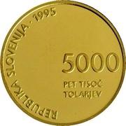 Slovenia 5000 Tolarjev Defeat of Fascism 1995 Proof KM# 24 REPUBLIKA SLOVENIJA . 1995 5000 PET TISOČ TOLARJEV coin obverse