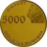 Slovenia 5000 Tolarjev First Railway in Slovenia 1996 Proof KM# 31 TOLARJEV 5000 1996 REPUBLIKA SLOVENIJA coin obverse