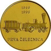 Slovenia 5000 Tolarjev First Railway in Slovenia 1996 Proof KM# 31 1846 1996 PRVA ŽELEZNICA coin reverse