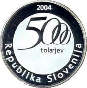 Slovenia 5000 Tolarjev Jurij Vega 2004 Proof KM# 58 2004 5000 TOLARJEV REPUBLIKA SLOVENIJA coin obverse