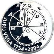 Slovenia 5000 Tolarjev Jurij Vega 2004 Proof KM# 58 JURIJ VEGA 1754 • 2004 coin reverse