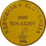 Slovenia 5000 Tolarjev Olympic Centennial 1996 Proof KM# 37 REPUBLIKA SLOVENIJA 5000 TOLARJEV 1996 coin obverse