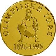 Slovenia 5000 Tolarjev Olympic Centennial 1996 Proof KM# 37 OLIMPIJSKE IGRE 1896 - 1996 coin reverse