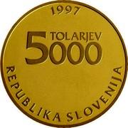 Slovenia 5000 Tolarjev Sigmund Zois 1997 Proof KM# 40 1997 TOLARJEV 5000 REPUBLIKA SLOVENIJA coin obverse