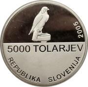 Slovenia 5000 Tolarjev Slovenian Sports Association 2005 Proof KM# 64 5000 TOLARJEV REPUBLIKA SLOVENIJA 2005 coin obverse