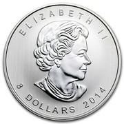Canada 8 Dollars Arctic Fox 2014  ELIZABETH II 8 DOLLARS 2014 coin obverse