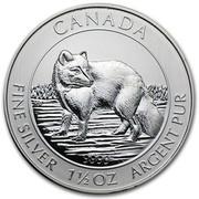 Canada 8 Dollars Arctic Fox 2014  CANADA 9999 FINE SILVER 1 1/2 OZ ARGENT PUR coin reverse