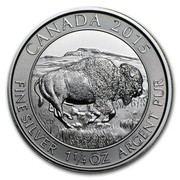 Canada 8 Dollars Canadian Bison 2015  CANADA 2015 CD 9999 FINE SILVER 1 1/4 OZ ARGENT PUR coin reverse