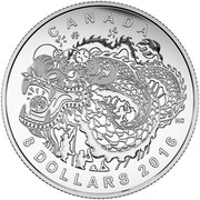 Canada 8 Dollars Dragon Dance 2016 Matte Proof KM# 2114 CANADA HC 8 DOLLARS 2016 coin reverse
