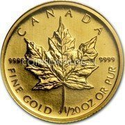 Canada Dollar Gold Maple Leaf 2009 Proof KM# 1416 CANADA 9999 9999 FINE GOLD 1/20 OZ OR PUR coin reverse