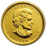 Canada Dollar Maple Leaf 2009 Proof KM# 1416 ELIZABETH II 1 DOLLAR 2009 coin obverse