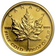 Canada Dollar Maple Leaf 2009 Proof KM# 1416 CANADA 9999 9999 FINE GOLD 1/20 OZ OR PUR coin reverse
