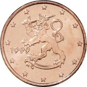 Finland Euro Cent The Heraldic Lion of the Coat of Arms of Finland 1999 M Proof KM# 98 DATE coin obverse