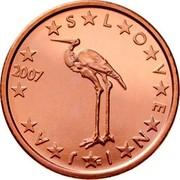 Slovenia Euro Cent White Stork 2008 KM# 68 SLOVENIJA coin obverse