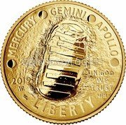 USA Five Dollars (Apollo 11 50th Anniversary) MERCURY GEMINI APOLLO IN GOD WE TRUST 2019 LIBERTY CC JFM coin obverse