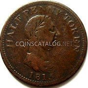 Canada Half Penny Genuine British Copper 1815  HALFPENNY TOKEN 1815 coin obverse