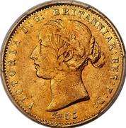 Australia Half Sovereign Victoria Queen. Pattern 1853 KM# Pn3 VICTORIA D: G: BRITANNIAR: REG: F: D: 1855 coin obverse