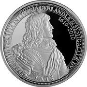 Latvia Lats Duke Jacob 2010 Proof KM# 112 IACOBUS DEI GRATIA IN LIVONIA CVRLANDIAE & SEMIGALLIAE DVX 1610-2010 1 LATS coin obverse
