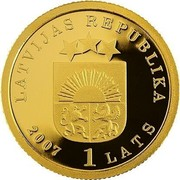Latvia Lats Golden apple tree 2007 Proof KM# 91 LATVIJAS REPUBLIKA 2007 1 LATS coin obverse