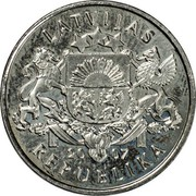 Latvia Lats Snowman 2007 KM# 85 LATVIJAS 20 07 REPUBLIKA coin obverse