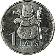 Latvia Lats Snowman 2007 KM# 85 1 LATS coin reverse