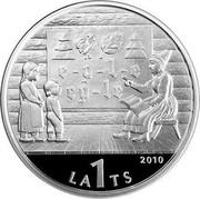 Latvia Lats The Latvian ABC book 2010 Proof KM# 111 2010 LA1TS coin obverse