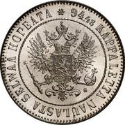 Finland Markka 1915 S KM# 3.2 Decimal Coinage 94.48 KAPPALETTA NAULASTA SELWÄÄ HOPEATA coin obverse