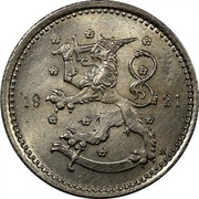 Finland Markka 1921 H KM# 27 Decimal Coinage DATE coin obverse