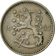 Finland Markka 1933 S KM# 30 Decimal Coinage DATE coin obverse