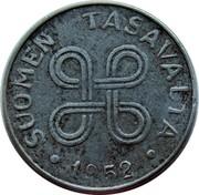 Finland Markka 1952 KM# 36 Decimal Coinage SUOMEN TASAVALTA DATE coin obverse