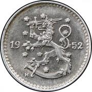 Finland Markka 1952 H KM# 30b Decimal Coinage DATE coin obverse