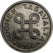 Finland Markka 1958 KM# 36a Decimal Coinage SUOMEN TASAVALTA DATE coin obverse
