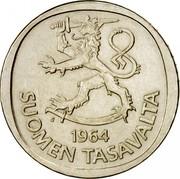 Finland Markka 1964 S KM# 49 Reform Coinage DATE SUOMEN TASAVALTA coin obverse