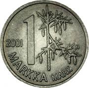 Finland Markka Remembrance Markka 2001 M N-M KM# 106 1 MARKKA MARK 2001 N coin reverse