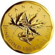 Canada Million Dollars 1000000 Dollars - Elizabeth II 2007 KM# 755 99999 99999 SW FINE GOLD 100 KG OR PUR coin reverse